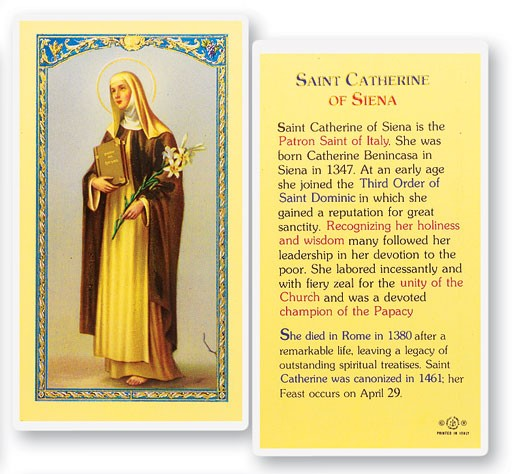 St. Catherine of Siena Laminated Prayer Cards 25 Pack - Full Color
