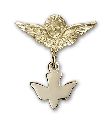 Baby Pin with Holy Spirit Charm and Angel with Smaller Wings Badge Pin - 14K Yellow Gold