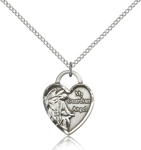Guardian Angel and Heart Medal - Sterling Silver