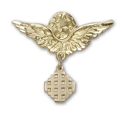 Pin Badge with Jerusalem Cross Charm and Angel with Larger Wings Badge Pin - Gold Tone