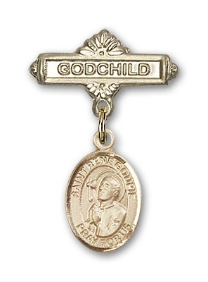 Pin Badge with St. Rene Goupil Charm and Godchild Badge Pin - Gold Tone