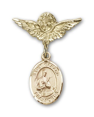 Pin Badge with St. Gerard Charm and Angel with Smaller Wings Badge Pin - 14K Solid Gold