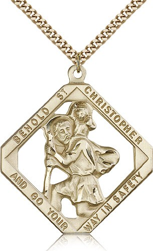 Large St. Christopher Necklace Open-Cut Diamond Shape - 14KT Gold Filled