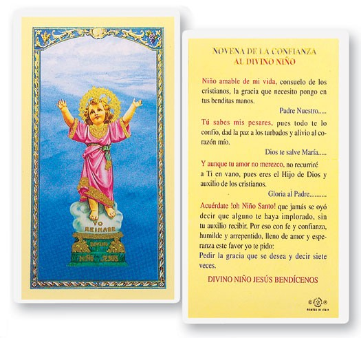 Divino Nino Novena Confianza Laminated Spanish Prayer Cards 25 Pack - Full Color