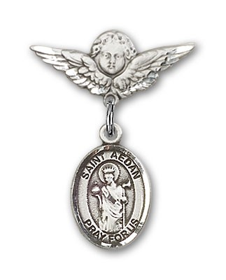 Pin Badge with St. Aedan of Ferns Charm and Angel with Smaller Wings Badge Pin - Silver tone