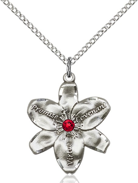 Large Five Petal Chastity Pendant with Birthstone Center - Ruby Red