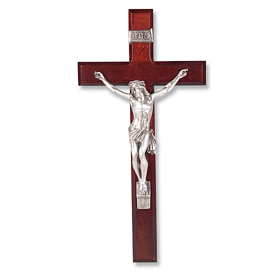 Dark Cherry Wall Crucifix with Siver-tone Corpus - 13 inch - Cherry Wood