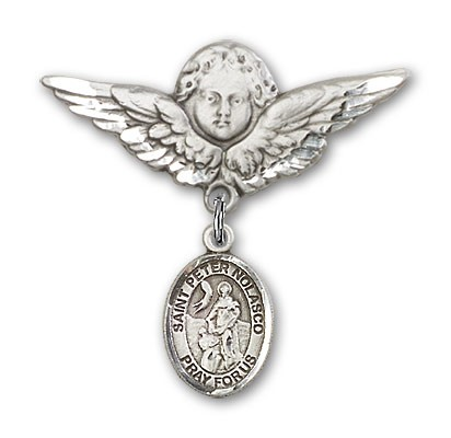 Pin Badge with St. Peter Nolasco Charm and Angel with Larger Wings Badge Pin - Silver tone