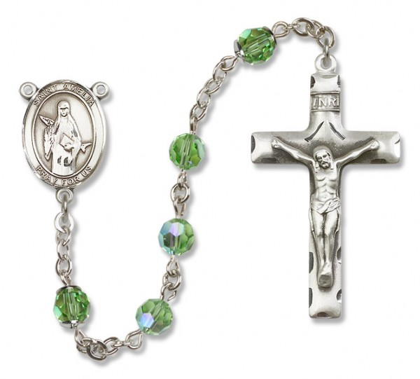 St. Amelia Sterling Silver Heirloom Rosary Squared Crucifix - Peridot