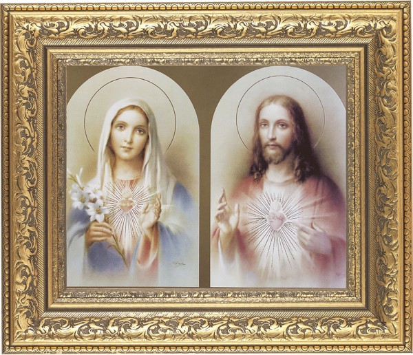 Immaculate Heart of Mary and Sacred Heart of Jesus Framed Print - #115 Frame