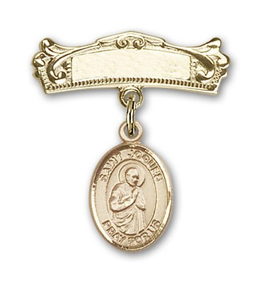 Pin Badge with St. Isaac Jogues Charm and Arched Polished Engravable Badge Pin - 14K Solid Gold
