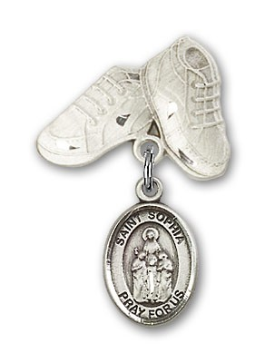 Pin Badge with St. Sophia Charm and Baby Boots Pin - Silver tone