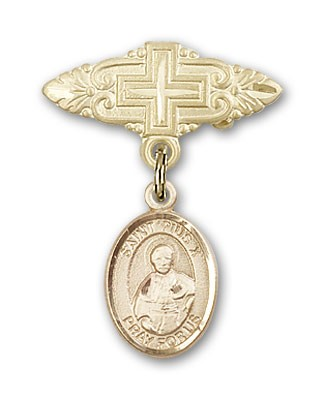 Pin Badge with St. Pius X Charm and Badge Pin with Cross - Gold Tone