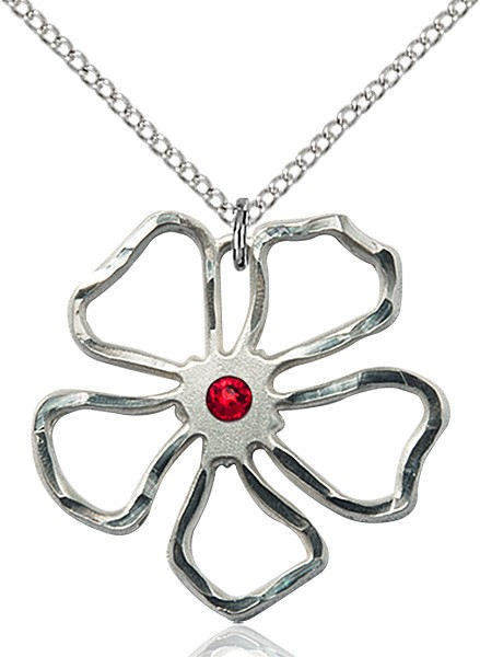 Five Petal Flower Pendant with Birthstone Center - Ruby Red