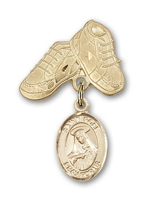 Pin Badge with St. Rose of Lima Charm and Baby Boots Pin - 14K Solid Gold