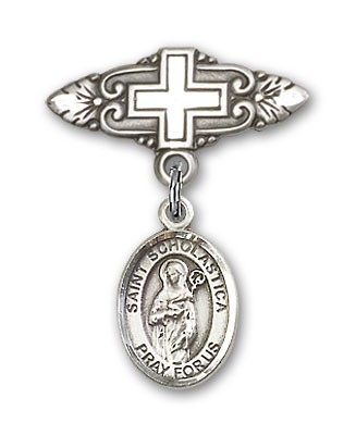 Pin Badge with St. Scholastica Charm and Badge Pin with Cross - Silver tone