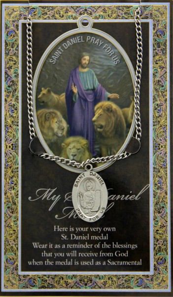 St. Daniel Medal in Pewter with Bi-Fold Prayer Card - Silver tone