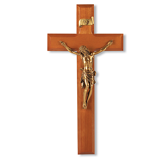 Leaning Christ Natural Cherry Wall Crucifix - 11 inch - Brown