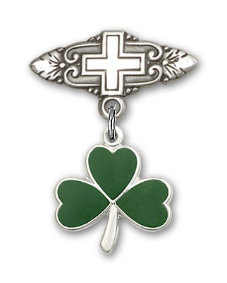 Pin Badge with Shamrock Charm and Badge Pin with Cross - Silver tone