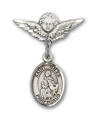 Pin Badge with St. Giles Charm and Angel with Smaller Wings Badge Pin - Silver tone
