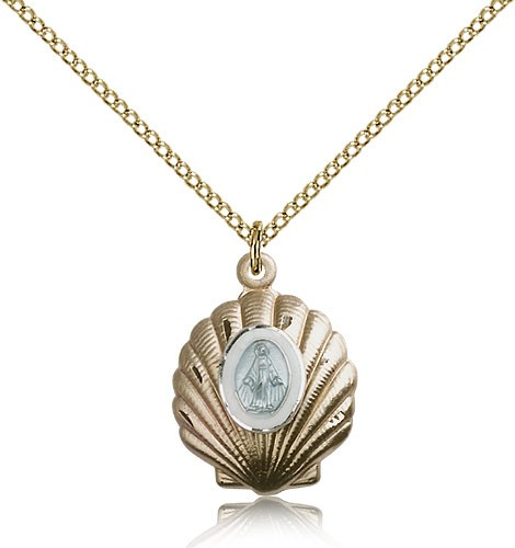 Shell with Blue Miraculous Medal Neclace - 14KT Gold Filled
