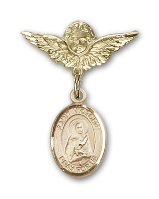 Pin Badge with St. Victoria Charm and Angel with Smaller Wings Badge Pin - 14K Solid Gold