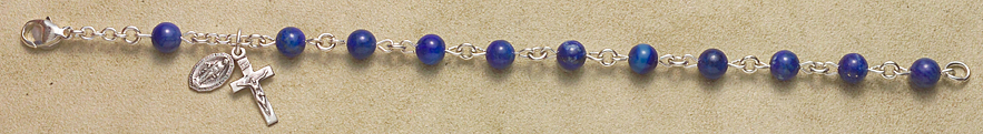 Rosary Bracelet - Sterling Silver with Lapis Beads - Blue