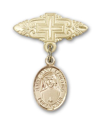 Pin Badge with St. Maria Faustina Charm and Badge Pin with Cross - 14K Solid Gold
