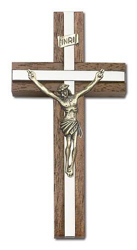"Classic Crucifix Wall Cross in Walnut and Metal Inlay 4"" - Two-Tone Silver"
