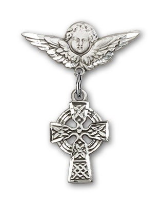 Pin Badge with Celtic Cross Charm and Angel with Smaller Wings Badge Pin - Silver tone