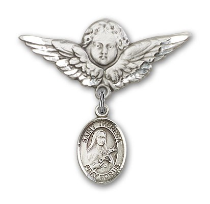 Pin Badge with St. Theresa Charm and Angel with Larger Wings Badge Pin - Silver tone