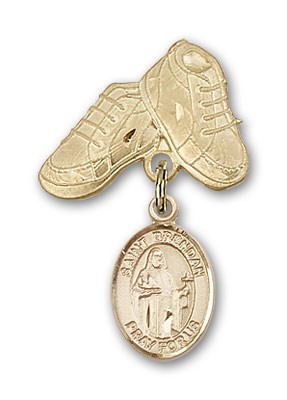 Pin Badge with St. Brendan the Navigator Charm and Baby Boots Pin - 14K Yellow Gold