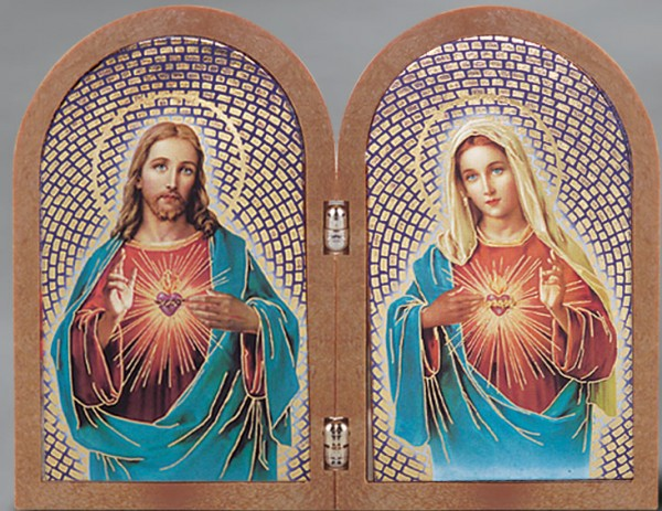 The Sacred Hearts Diptych Standing Prayer Plaque - Full Color