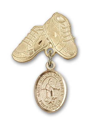 Pin Badge with St. Isidore the Farmer Charm and Baby Boots Pin - Gold Tone