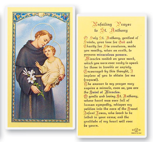 St. Anthony, Unfailing Laminated Prayer Cards 25 Pack - Full Color