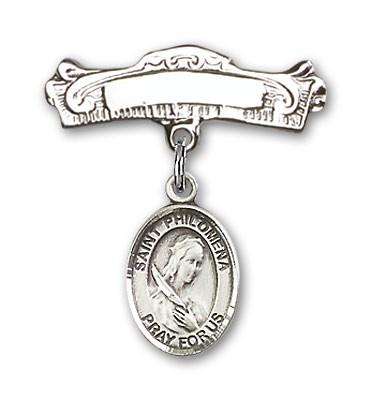 Pin Badge with St. Philomena Charm and Arched Polished Engravable Badge Pin - Silver tone