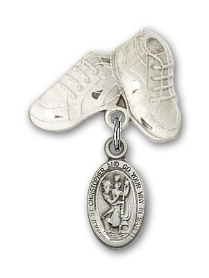 Pin Badge with St. Christopher Charm and Baby Boots Pin - Silver tone