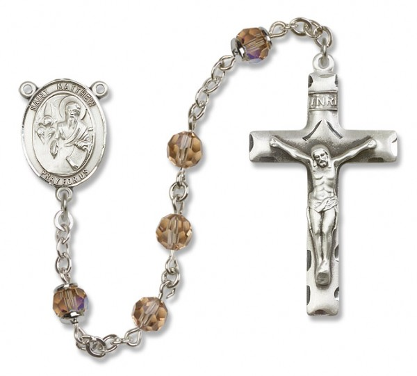 St. Matthew the Apostle Sterling Silver Heirloom Rosary Squared Crucifix - Topaz