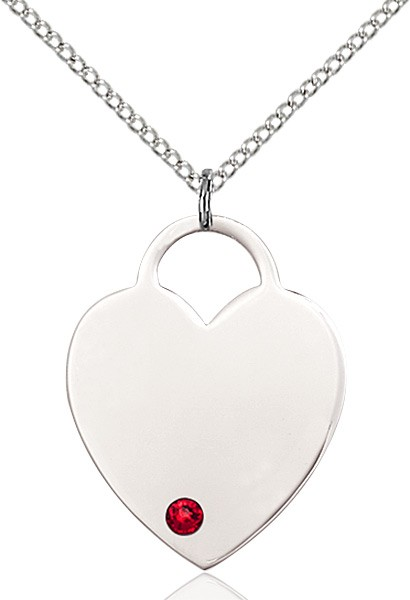 Large Women's Heart Pendant with Birthstone Options - Ruby Red