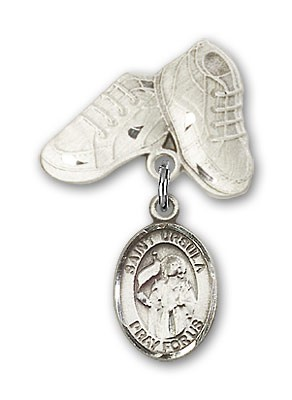 Pin Badge with St. Ursula Charm and Baby Boots Pin - Silver tone