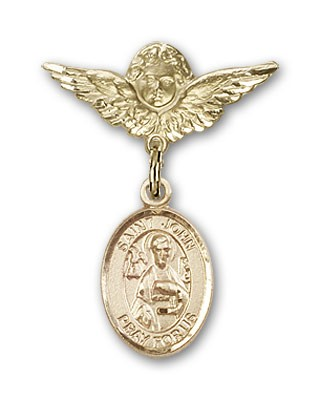 Pin Badge with St. John the Apostle Charm and Angel with Smaller Wings Badge Pin - 14K Solid Gold