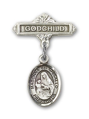 Pin Badge with St. Madonna Del Ghisallo Charm and Godchild Badge Pin - Silver tone