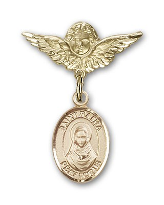 Pin Badge with St. Rafka Charm and Angel with Smaller Wings Badge Pin - 14K Solid Gold