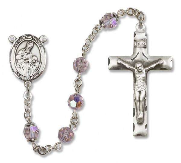St. Ambrose Rosary Heirloom Squared Crucifix - Light Amethyst