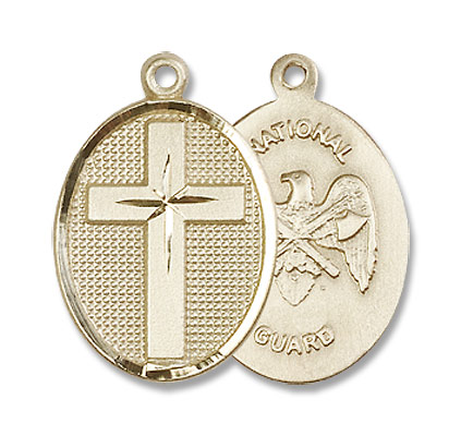 Cross National Guard Pendant - 14K Solid Gold