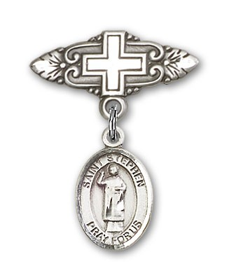 Pin Badge with St. Stephen the Martyr Charm and Badge Pin with Cross - Silver tone