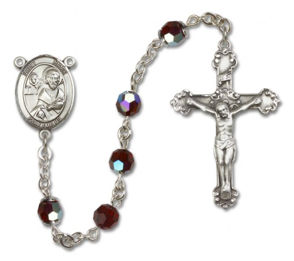 St. Mark the Evangelist Sterling Silver Heirloom Rosary Fancy Crucifix - Garnet
