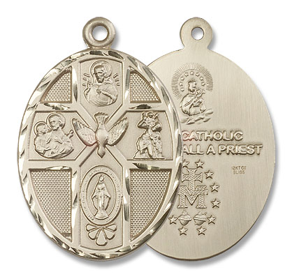 Men's Large 5-Way Holy Spirit Medal - 14K Solid Gold