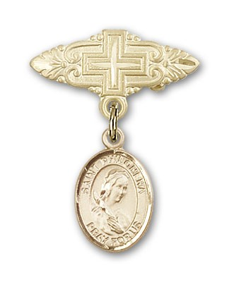 Pin Badge with St. Philomena Charm and Badge Pin with Cross - 14K Yellow Gold