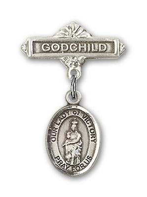 Baby Badge with Our Lady of Victory Charm and Godchild Badge Pin - Silver tone